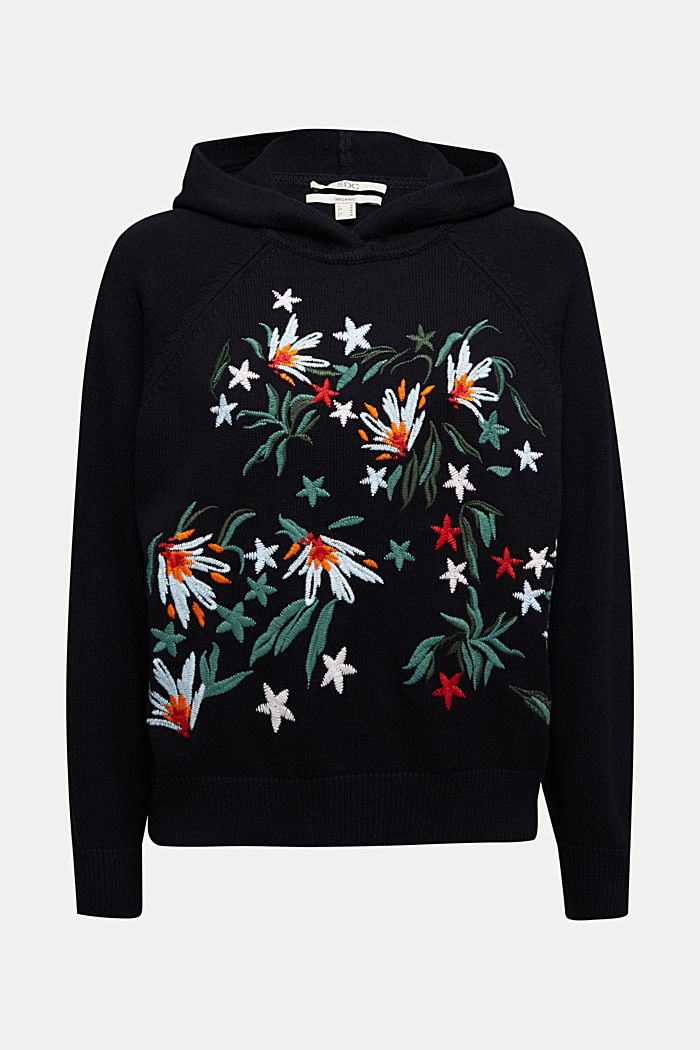 Embroidered, knit hoodie, 100% organic cotton, BLACK, detail image number 6