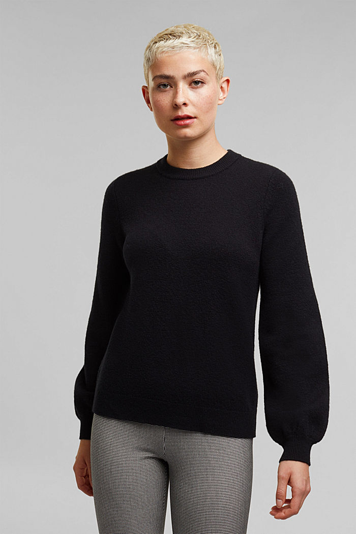 Wool blend: jumper with balloon sleeves, BLACK, detail image number 0