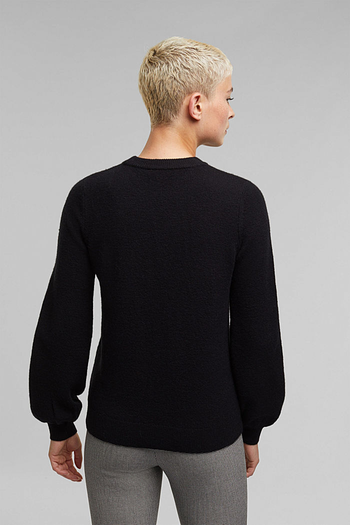 Wool blend: jumper with balloon sleeves, BLACK, detail image number 3
