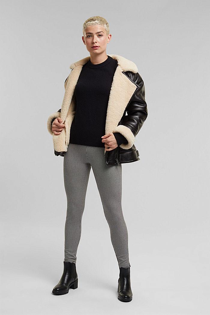 Wool blend: jumper with balloon sleeves, BLACK, detail image number 1