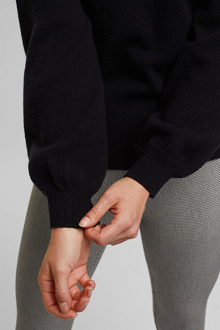 Wool blend: jumper with balloon sleeves, BLACK, detail image number 2
