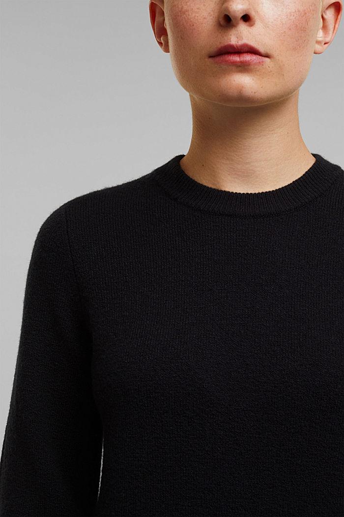 Wool blend: jumper with balloon sleeves, BLACK, detail image number 5