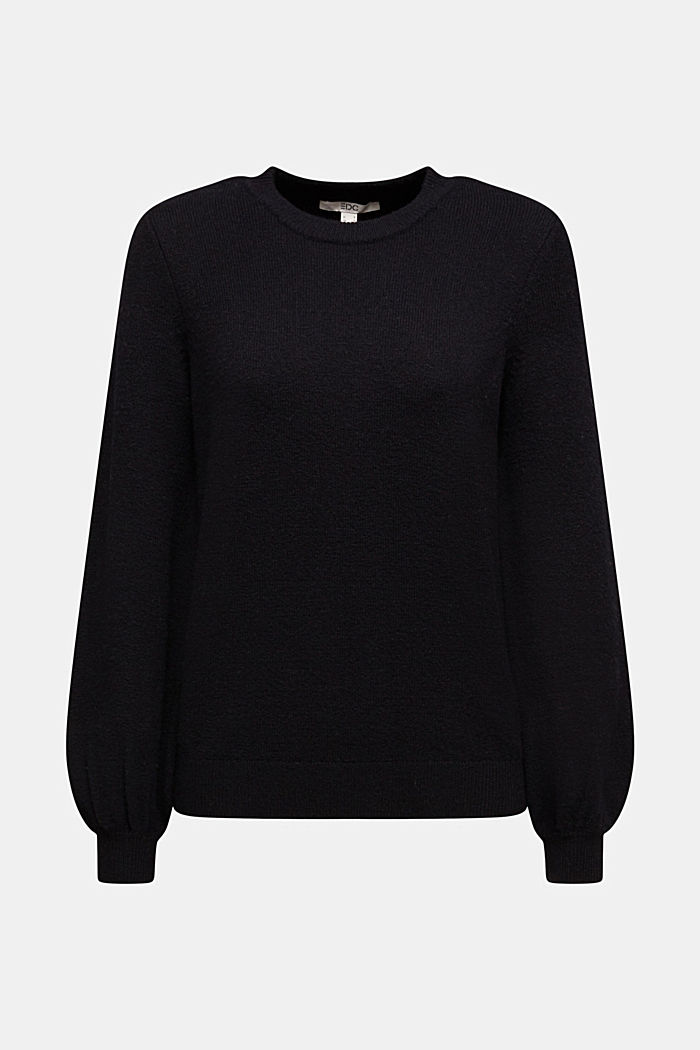 Wool blend: jumper with balloon sleeves, BLACK, detail image number 7