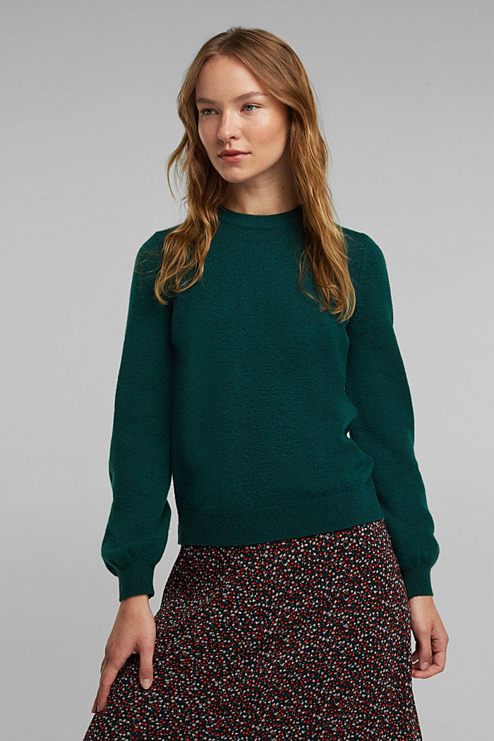 Wool blend: jumper with balloon sleeves, DARK TEAL GREEN, detail image number 0