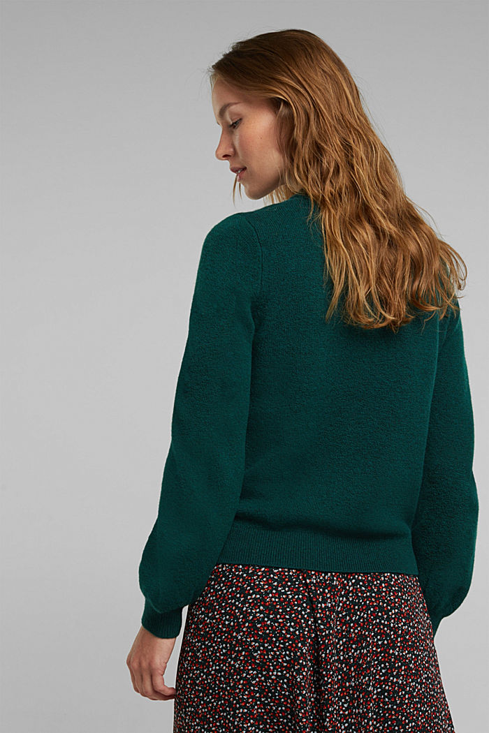 Wool blend: jumper with balloon sleeves, DARK TEAL GREEN, detail image number 3
