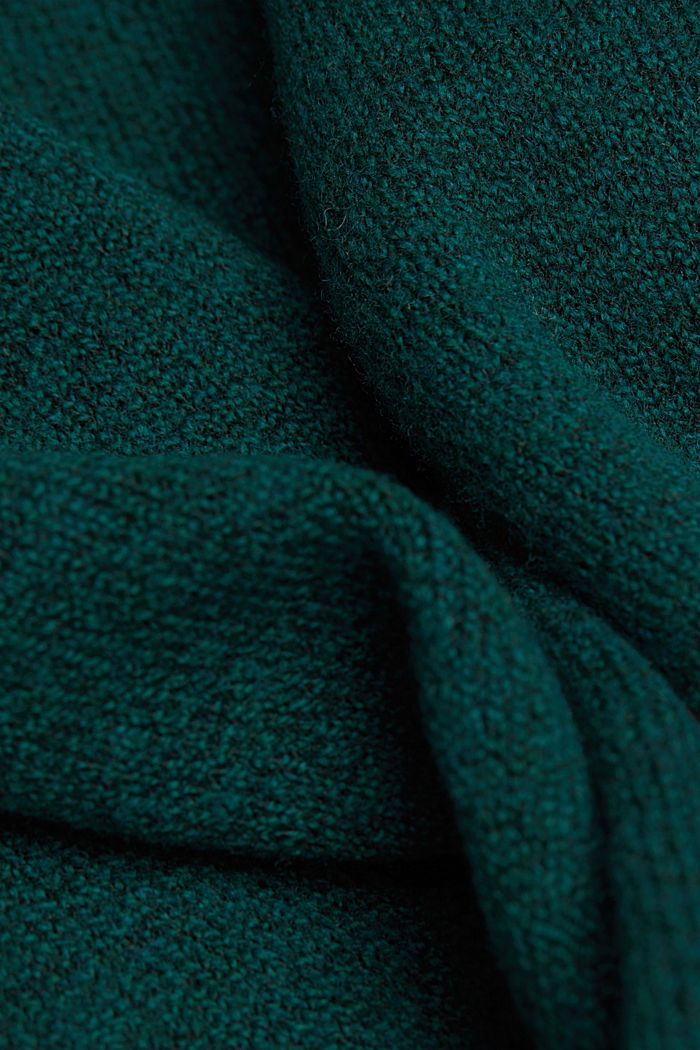 Wool blend: jumper with balloon sleeves, DARK TEAL GREEN, detail image number 4