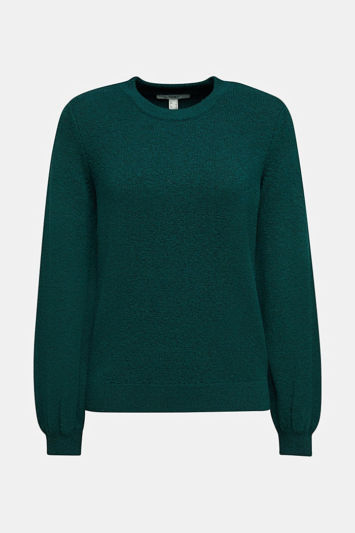 Wool blend: jumper with balloon sleeves, DARK TEAL GREEN, detail image number 5