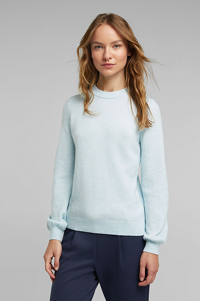 Wool blend: jumper with balloon sleeves