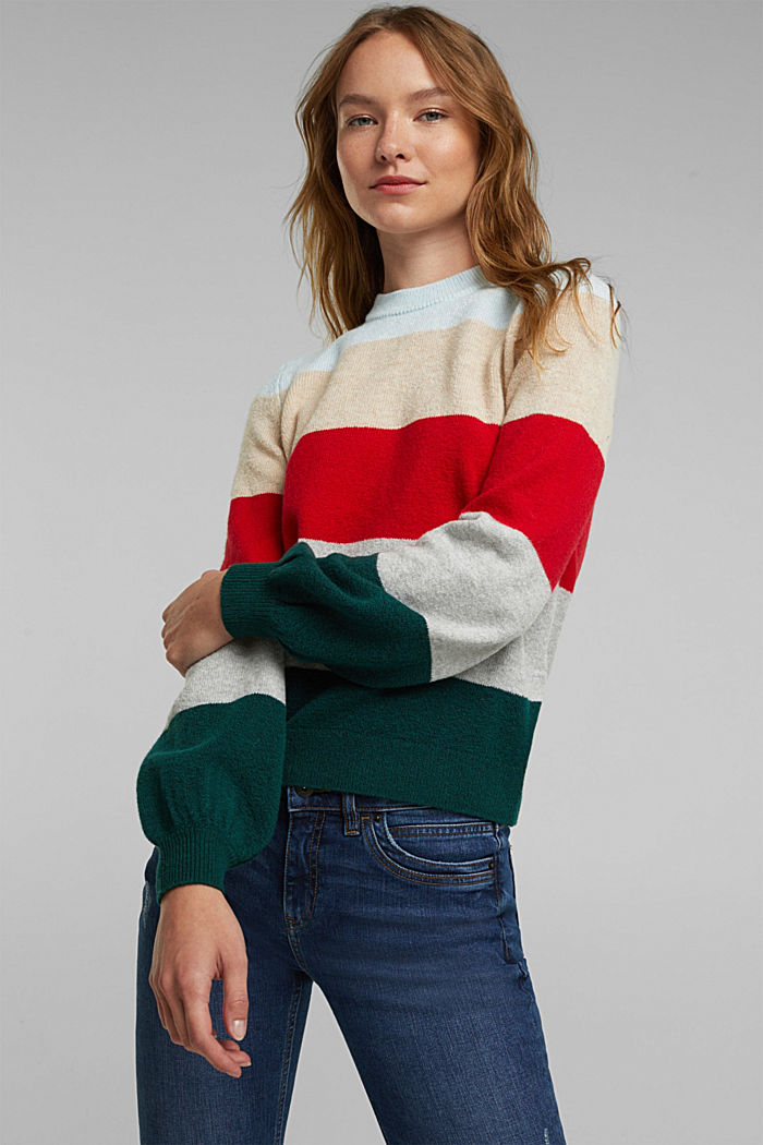 Wool blend: jumper with balloon sleeves, RED, detail image number 0