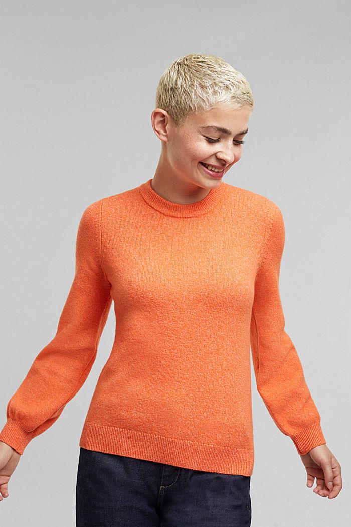 Wool blend: jumper with balloon sleeves, ORANGE, detail image number 0