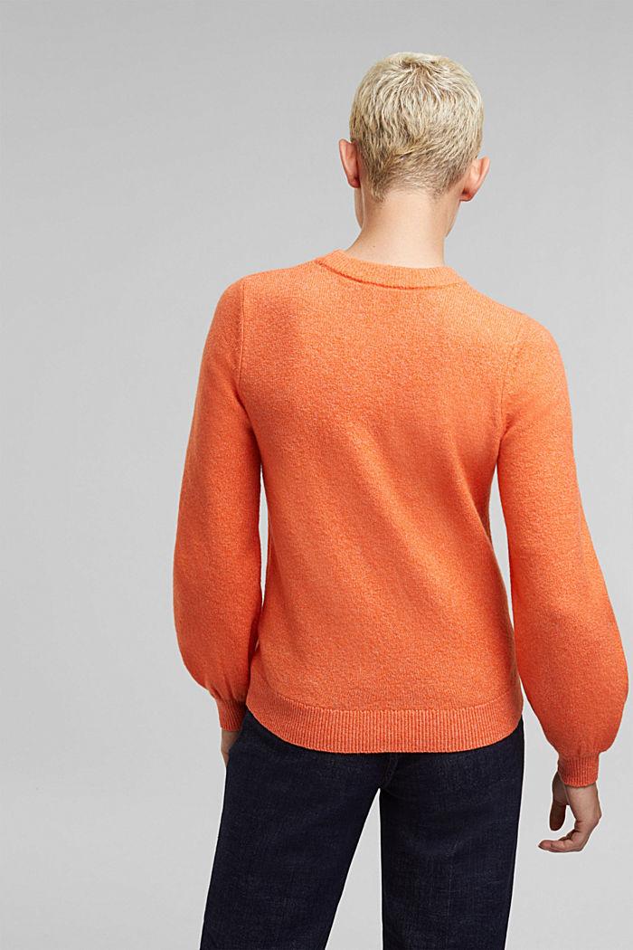 Wool blend: jumper with balloon sleeves, ORANGE, detail image number 3