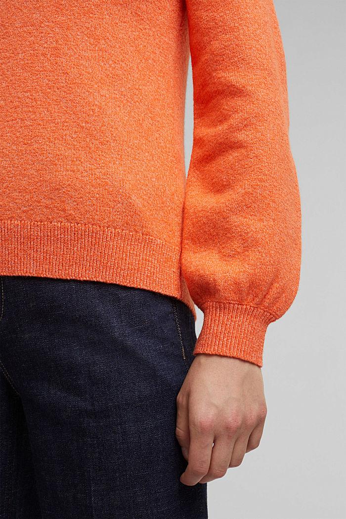 Wool blend: jumper with balloon sleeves, ORANGE, detail image number 2