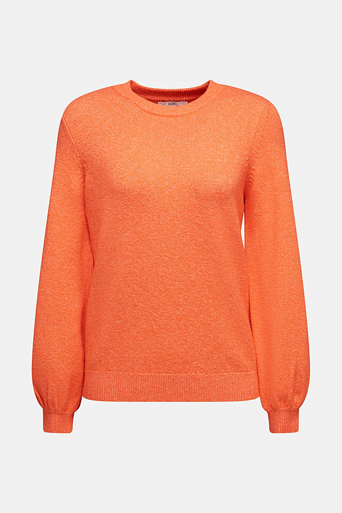 Wool blend: jumper with balloon sleeves, ORANGE, overview