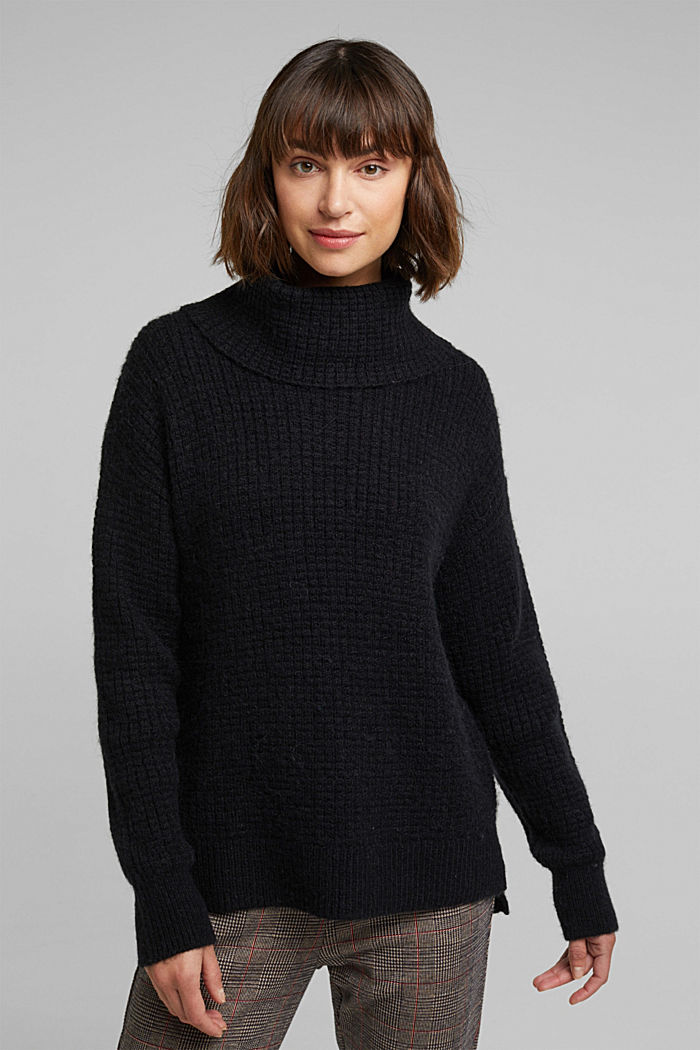 With wool/alpaca: Chunky knit polo neck, BLACK, detail image number 0