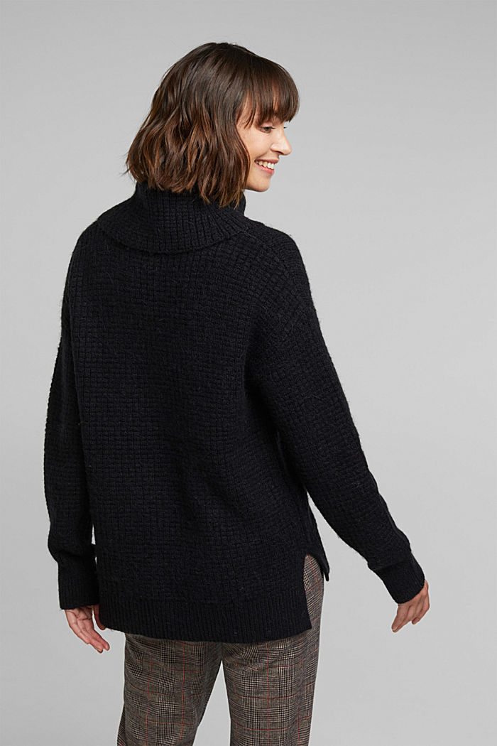 With wool/alpaca: Chunky knit polo neck, BLACK, detail image number 3