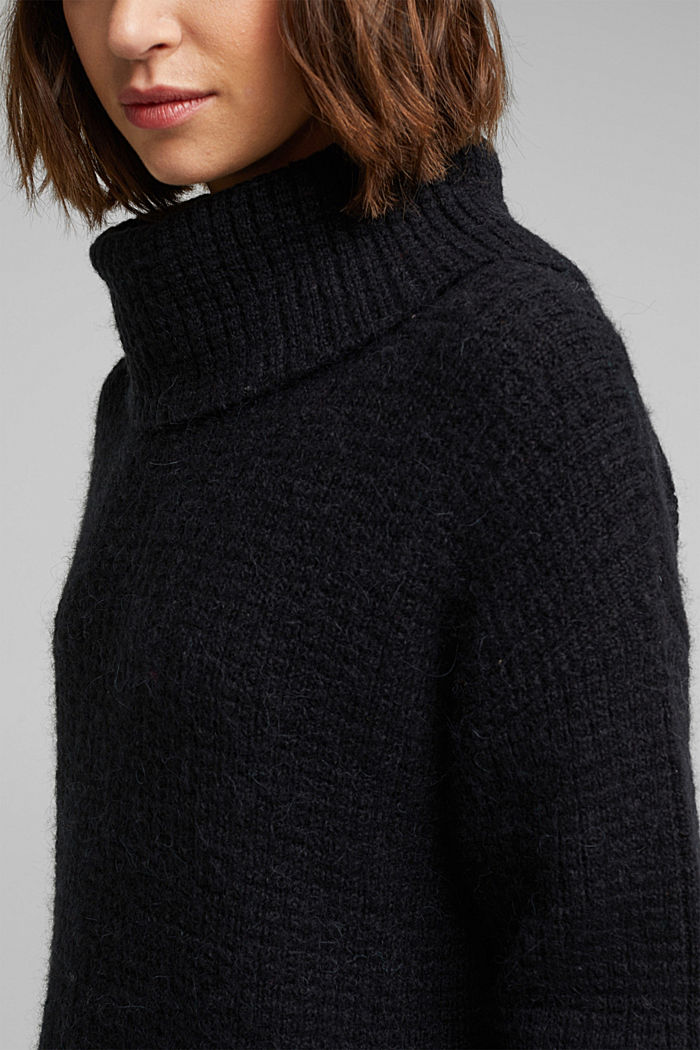 With wool/alpaca: Chunky knit polo neck, BLACK, detail image number 2