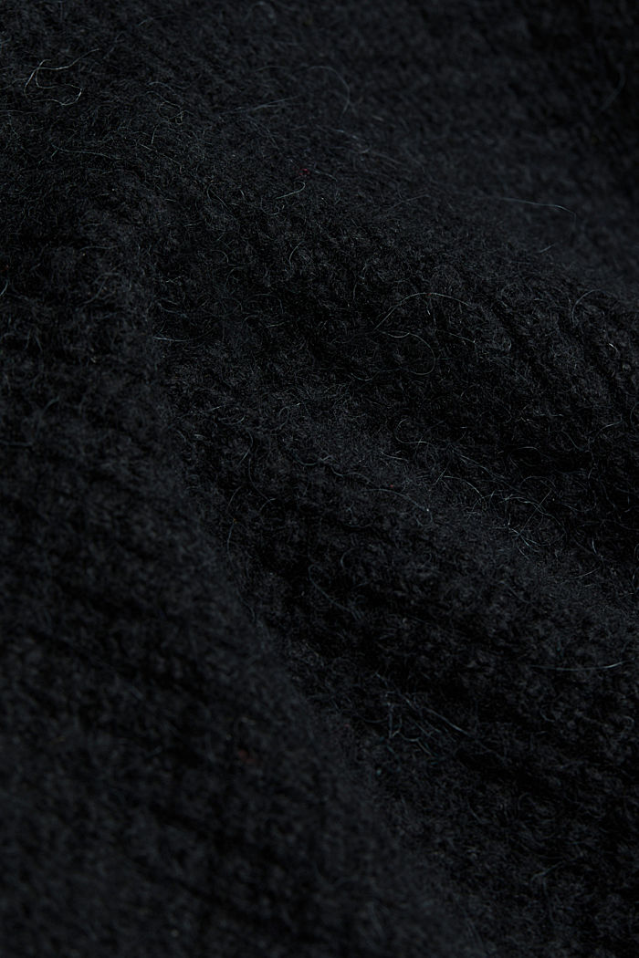 With wool/alpaca: Chunky knit polo neck, BLACK, detail image number 4