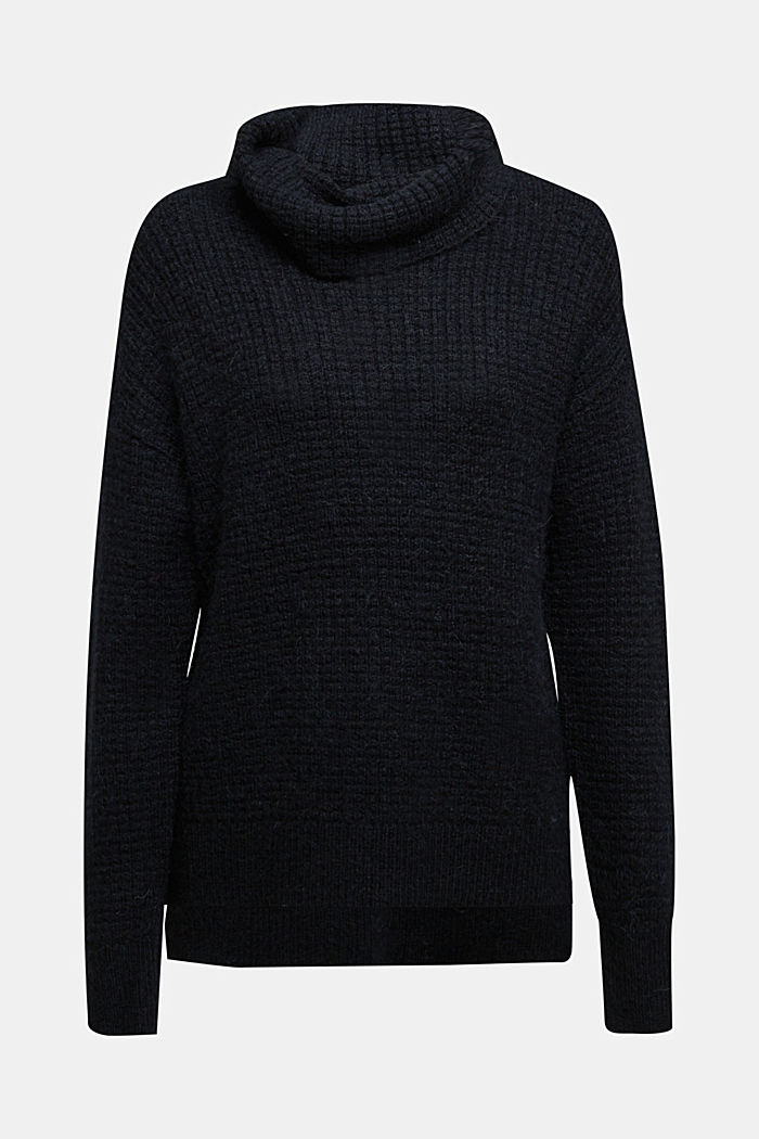 With wool/alpaca: Chunky knit polo neck, BLACK, detail image number 6