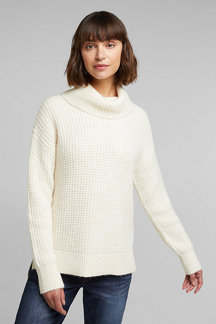With wool/alpaca: Chunky knit polo neck, OFF WHITE, detail image number 0