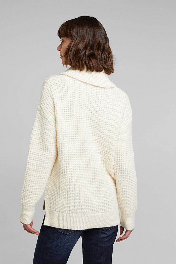 With wool/alpaca: Chunky knit polo neck, OFF WHITE, detail image number 3