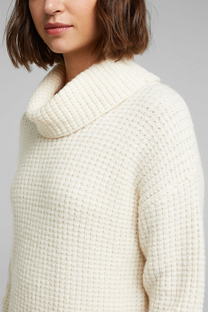 With wool/alpaca: Chunky knit polo neck, OFF WHITE, detail image number 2