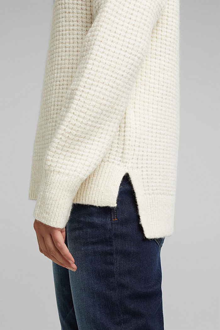 With wool/alpaca: Chunky knit polo neck, OFF WHITE, detail image number 5