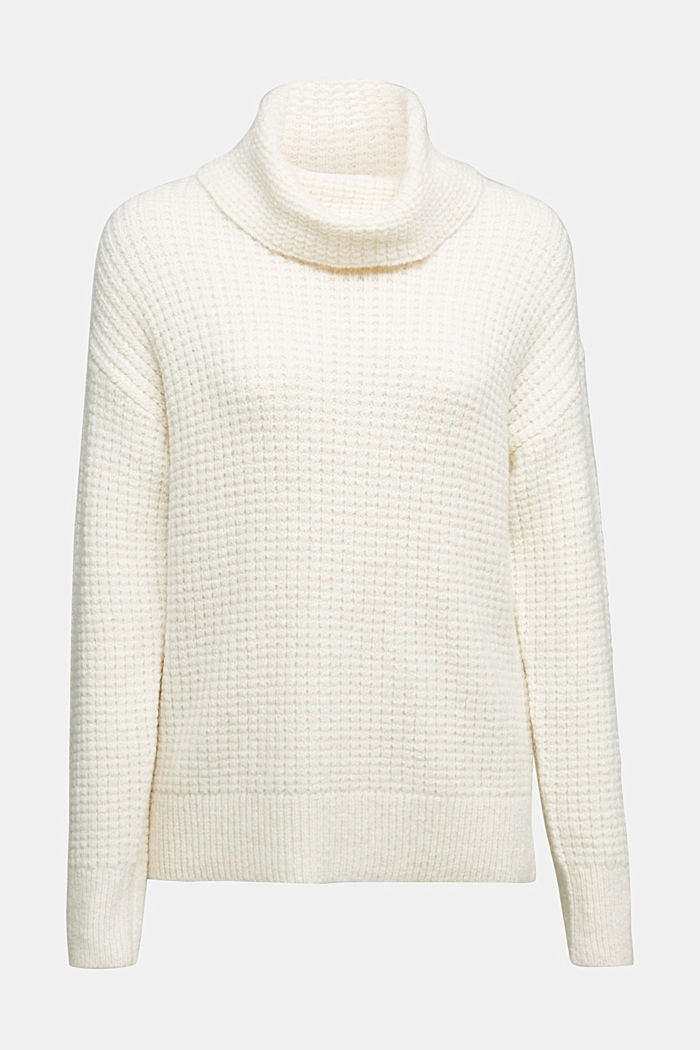 With wool/alpaca: Chunky knit polo neck, OFF WHITE, detail image number 6
