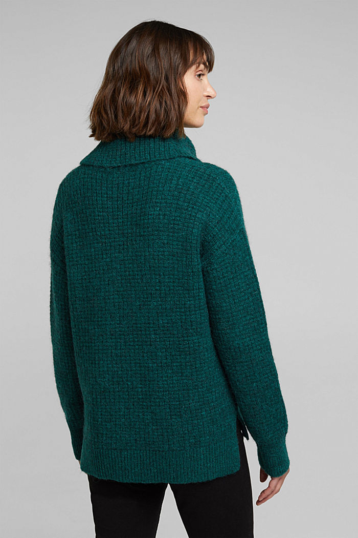 With wool/alpaca: Chunky knit polo neck, DARK TEAL GREEN, detail image number 3