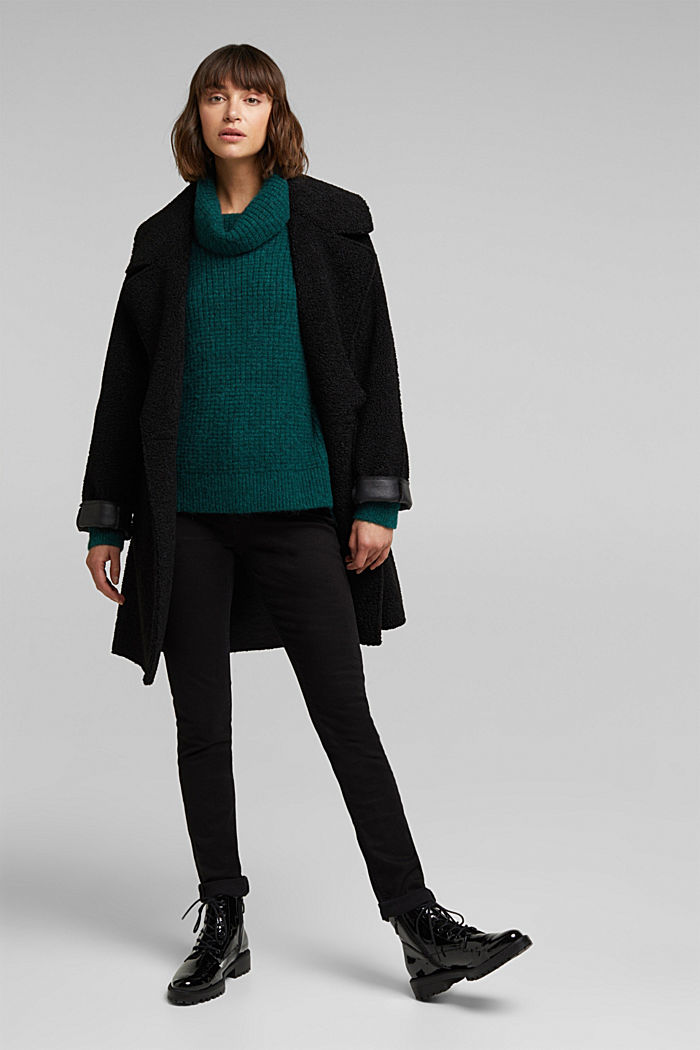 With wool/alpaca: Chunky knit polo neck, DARK TEAL GREEN, detail image number 1