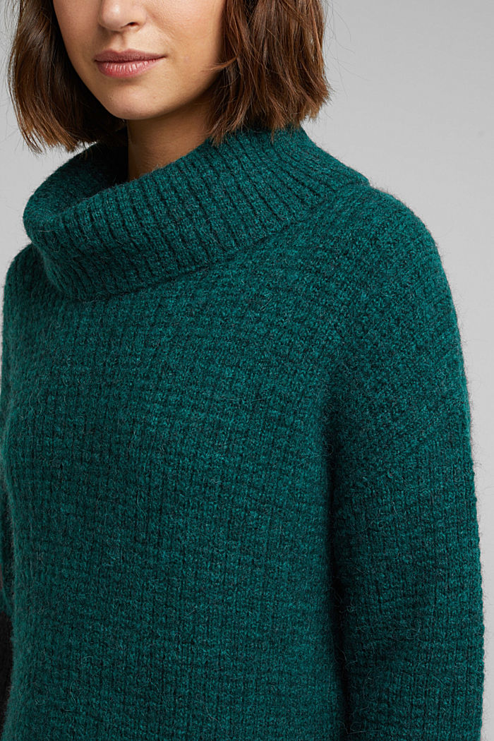With wool/alpaca: Chunky knit polo neck, DARK TEAL GREEN, detail image number 2