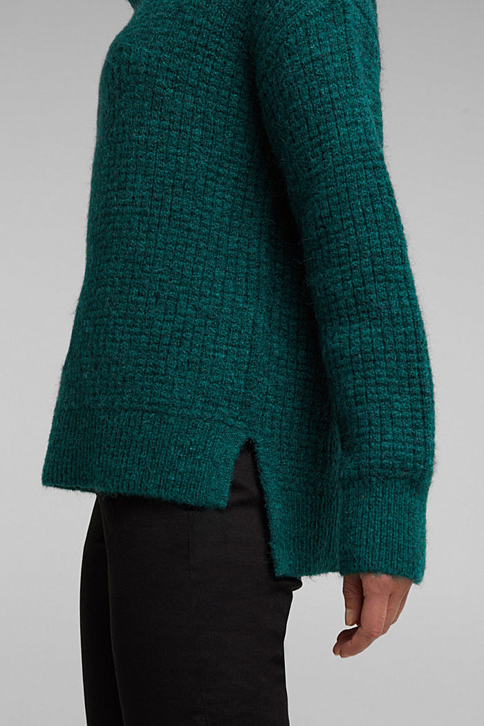 With wool/alpaca: Chunky knit polo neck, DARK TEAL GREEN, detail image number 5