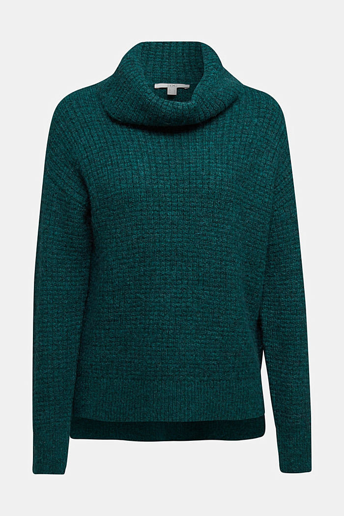 With wool/alpaca: Chunky knit polo neck, DARK TEAL GREEN, detail image number 6