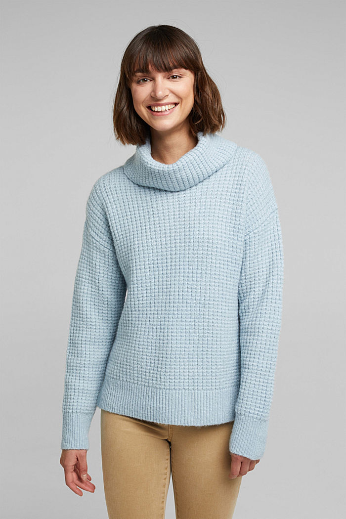 With wool/alpaca: Chunky knit polo neck, PASTEL BLUE, detail image number 0