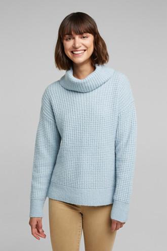 With wool/alpaca: Chunky knit polo neck