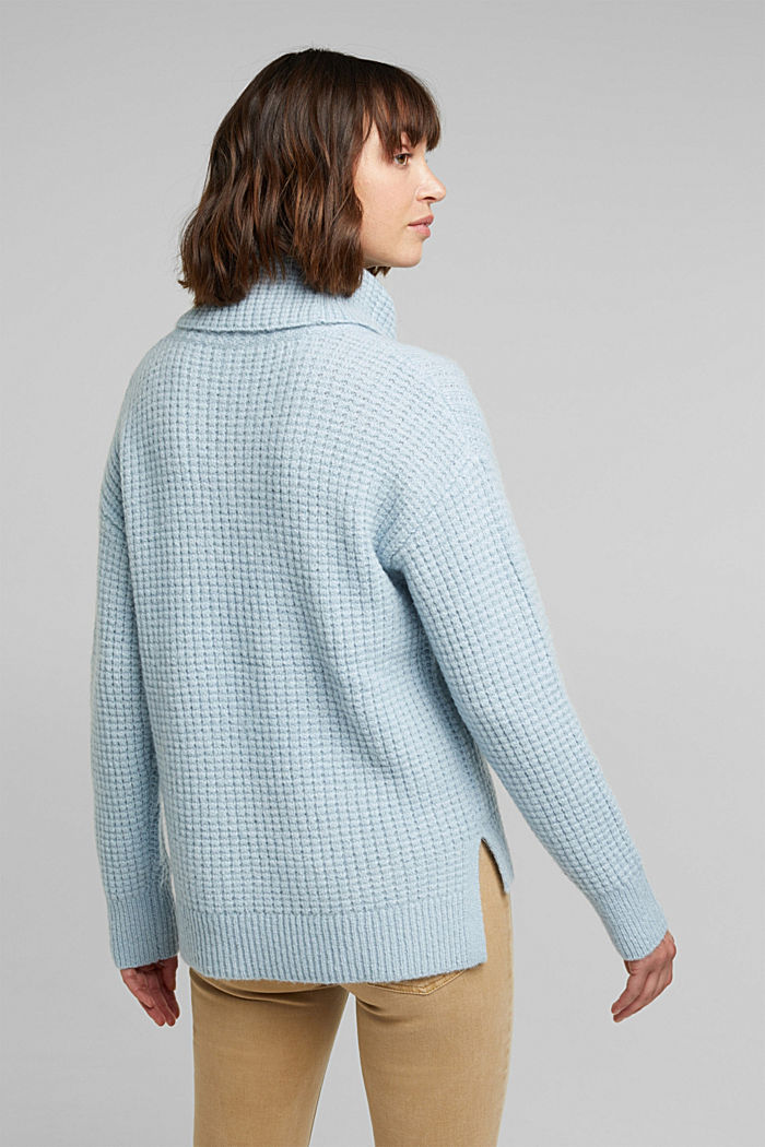 With wool/alpaca: Chunky knit polo neck, PASTEL BLUE, detail image number 3