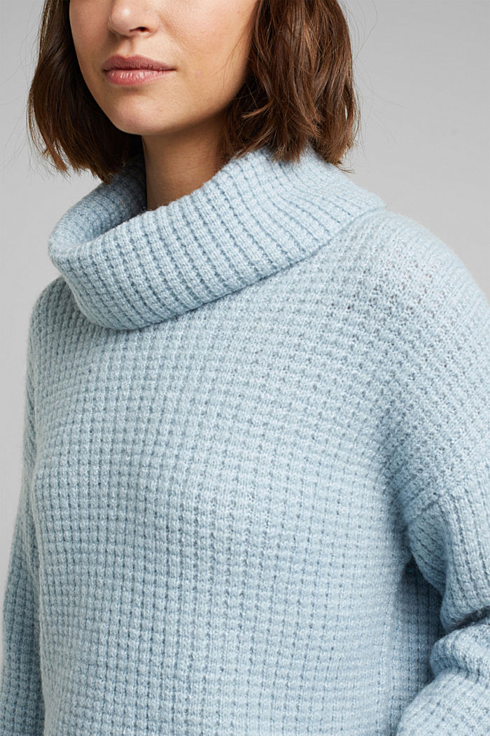 With wool/alpaca: Chunky knit polo neck, PASTEL BLUE, detail image number 2