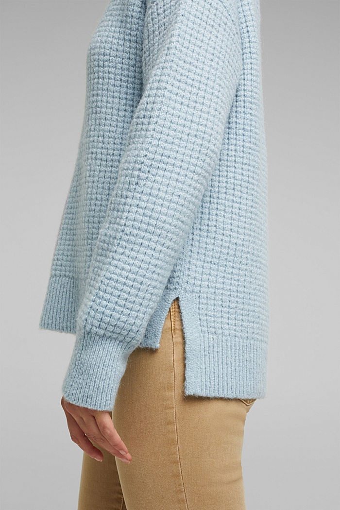 With wool/alpaca: Chunky knit polo neck, PASTEL BLUE, detail image number 5