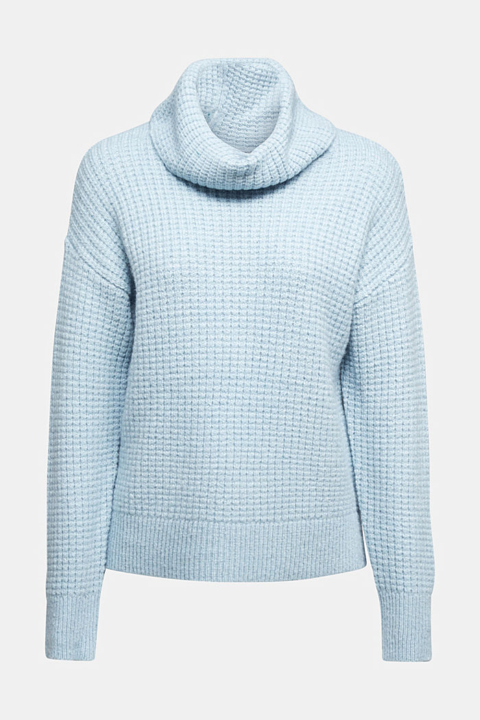With wool/alpaca: Chunky knit polo neck, PASTEL BLUE, detail image number 6