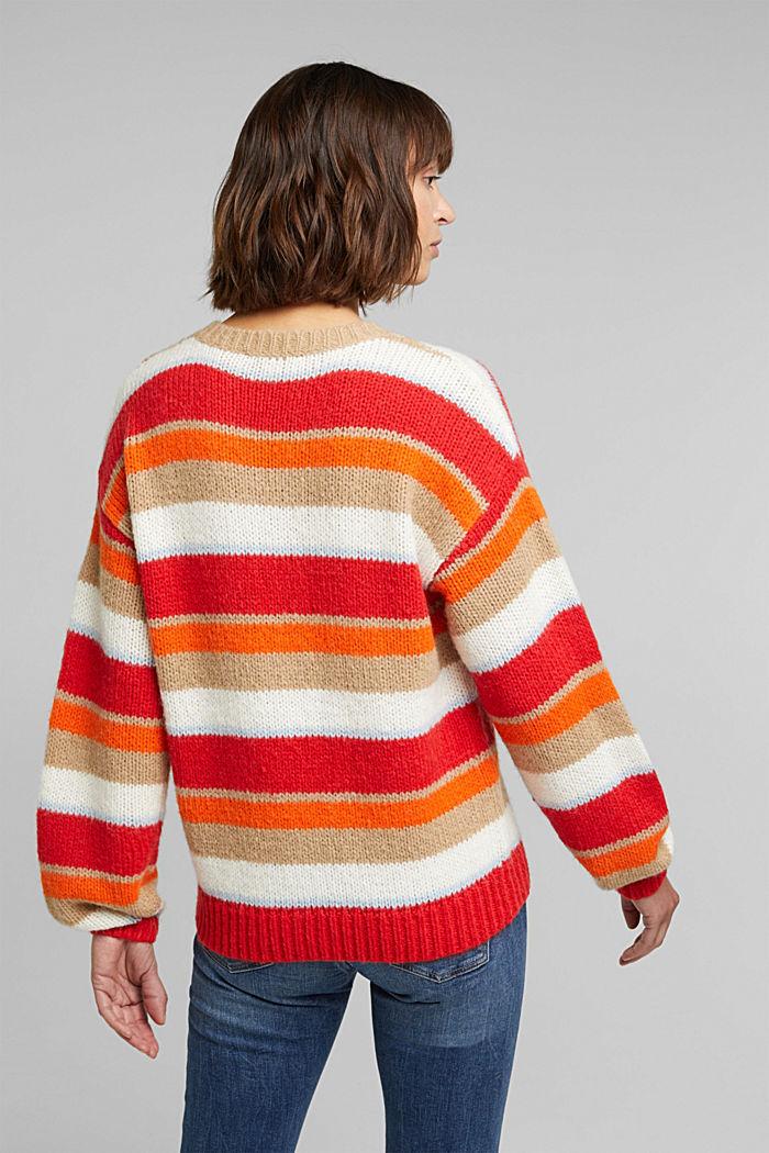 With wool/alpaca: striped jumper, ORANGE, detail image number 3
