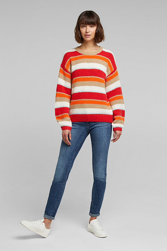 With wool/alpaca: striped jumper, ORANGE, detail image number 1