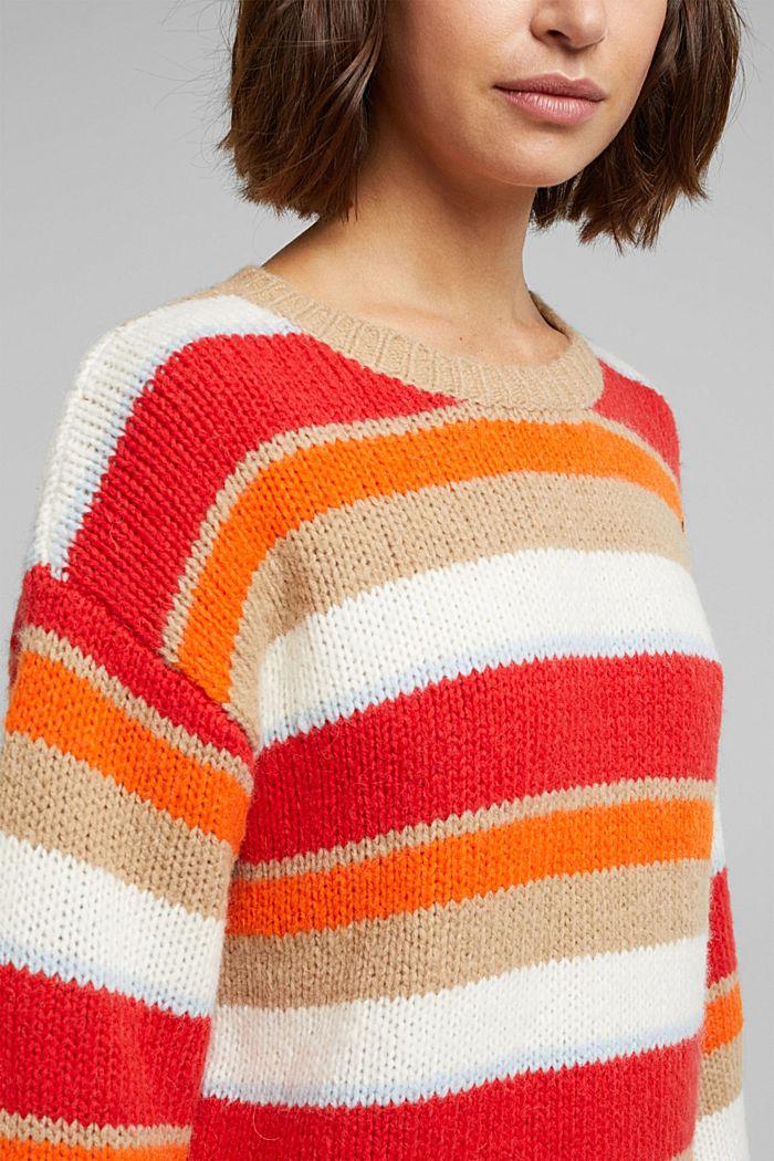 With wool/alpaca: striped jumper, ORANGE, detail image number 2