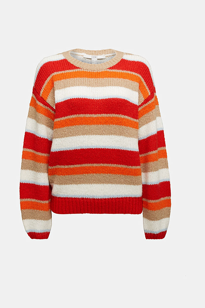 With wool/alpaca: striped jumper, ORANGE, overview