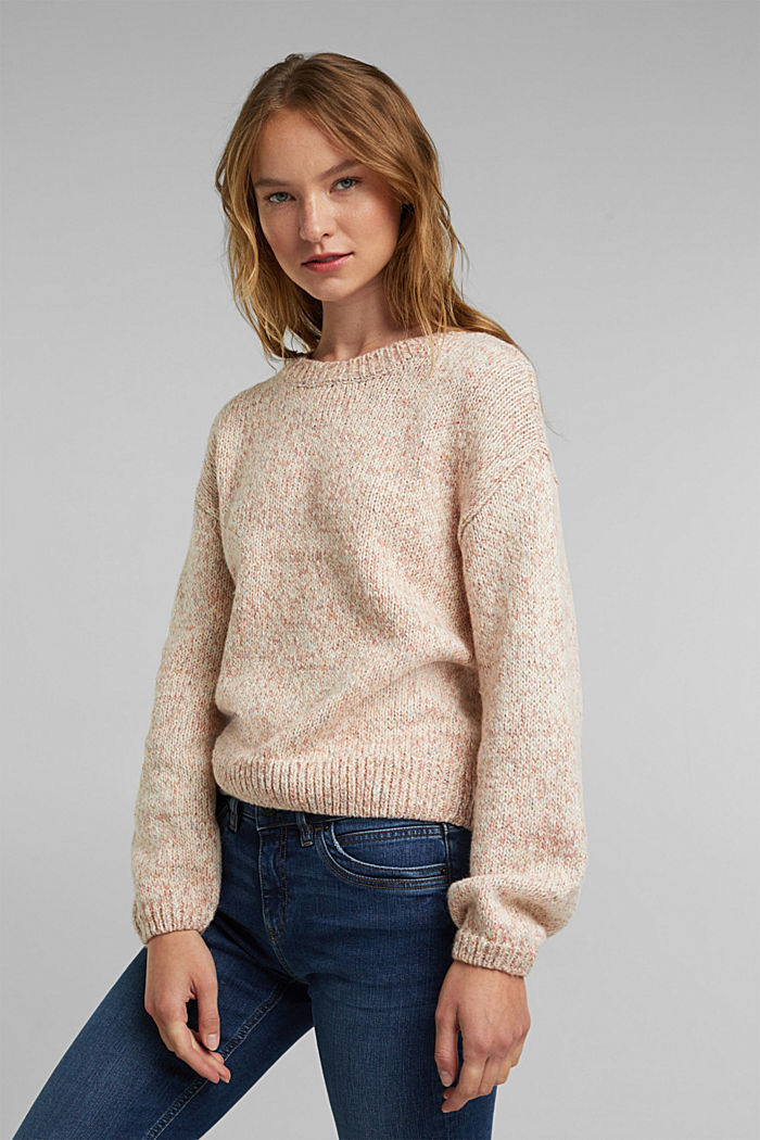 Mouliné jumper in blended cotton