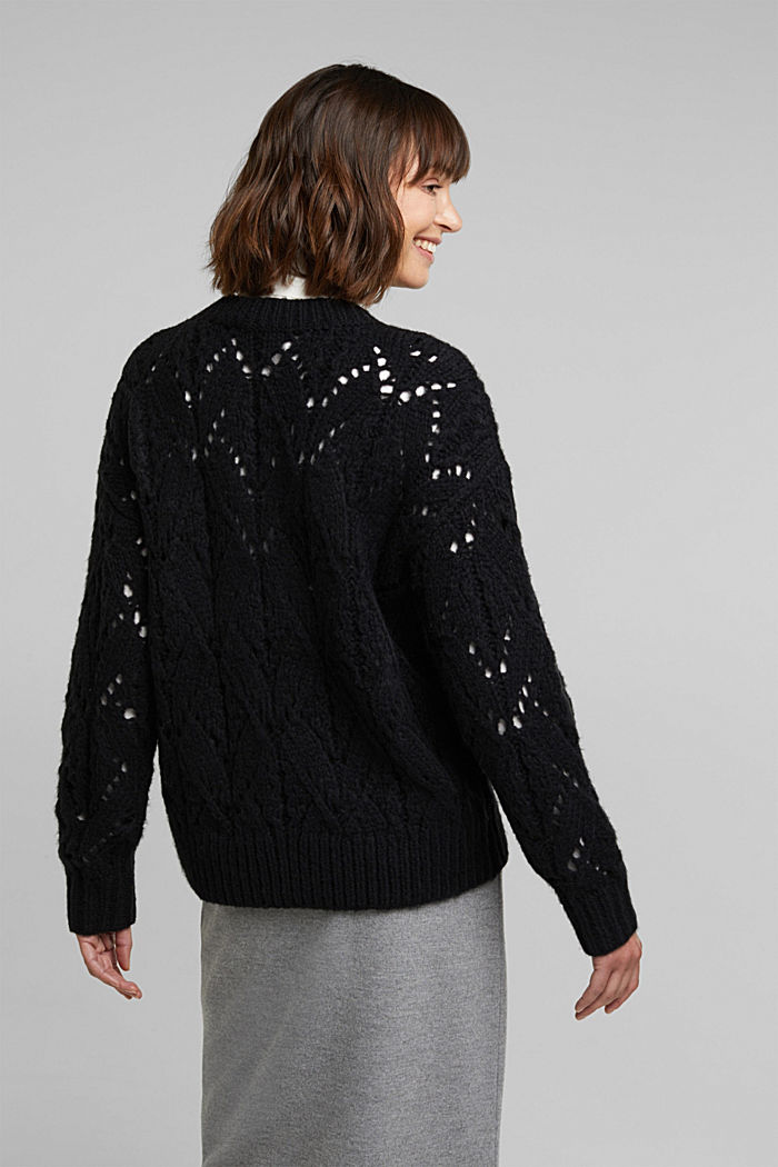Pointelle jumper with wool, BLACK, detail image number 3