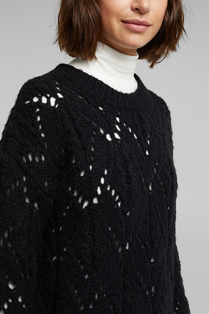 Pointelle jumper with wool, BLACK, detail image number 2