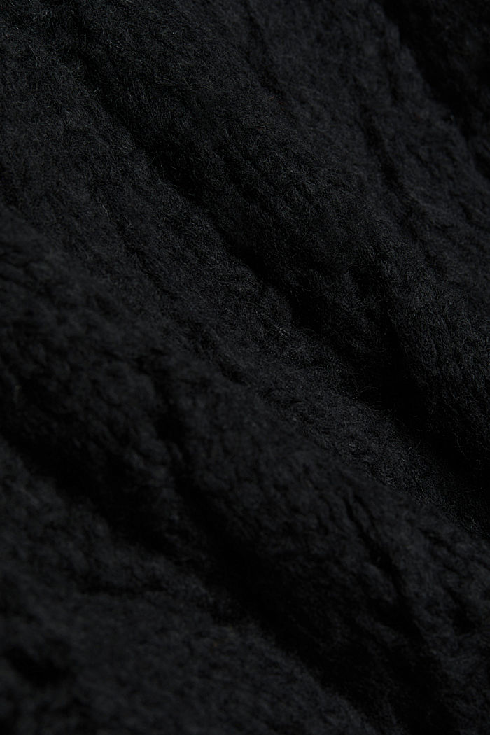 Pointelle jumper with wool, BLACK, detail image number 4