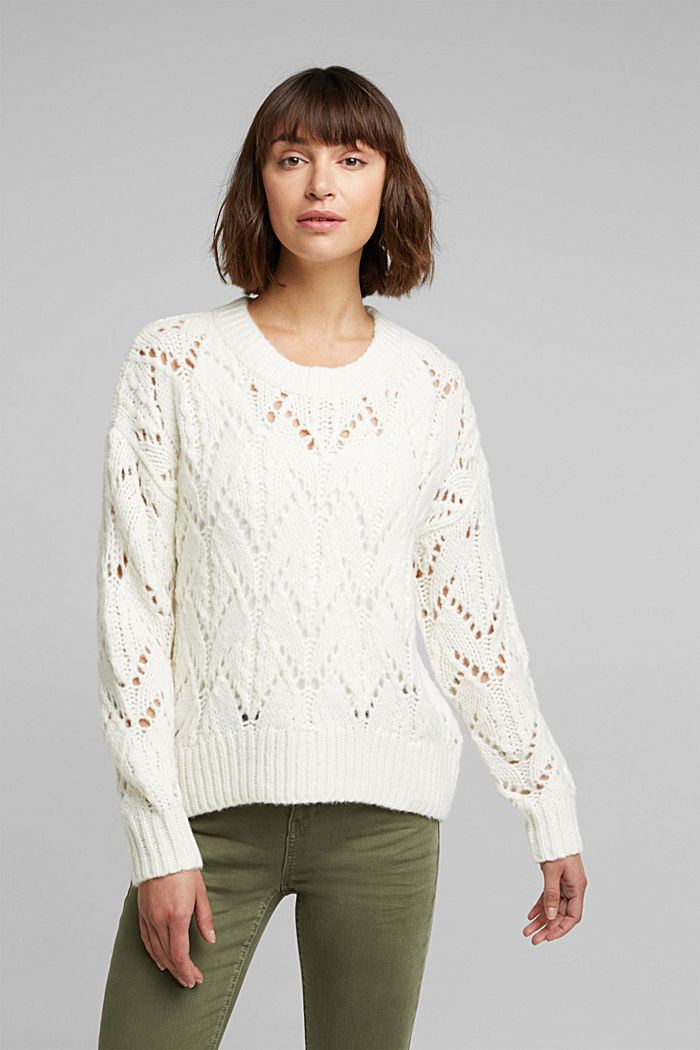 Pointelle jumper with wool