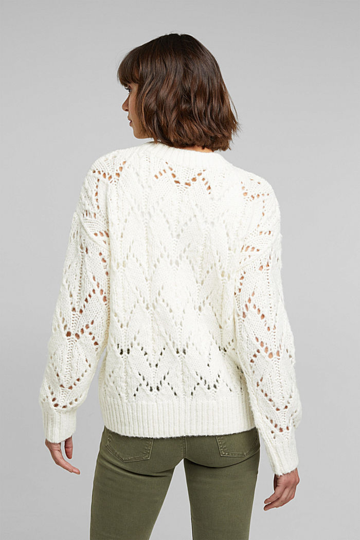 Pointelle jumper with wool, OFF WHITE, detail image number 3