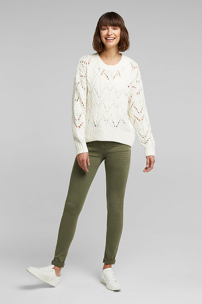 Pointelle jumper with wool, OFF WHITE, detail image number 1