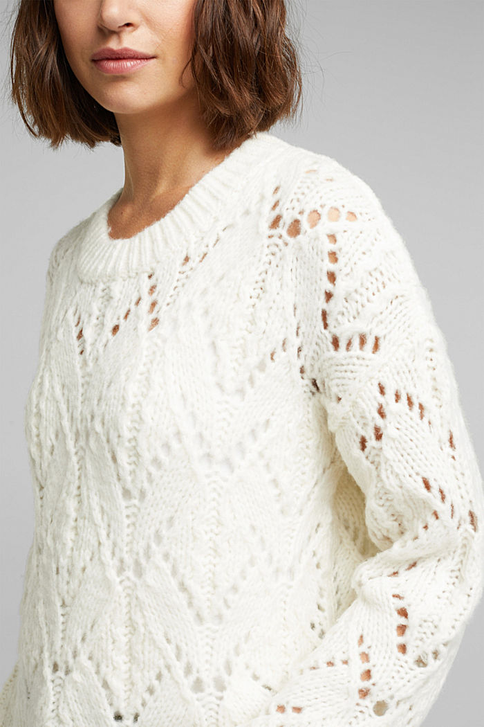 Pointelle jumper with wool, OFF WHITE, detail image number 2